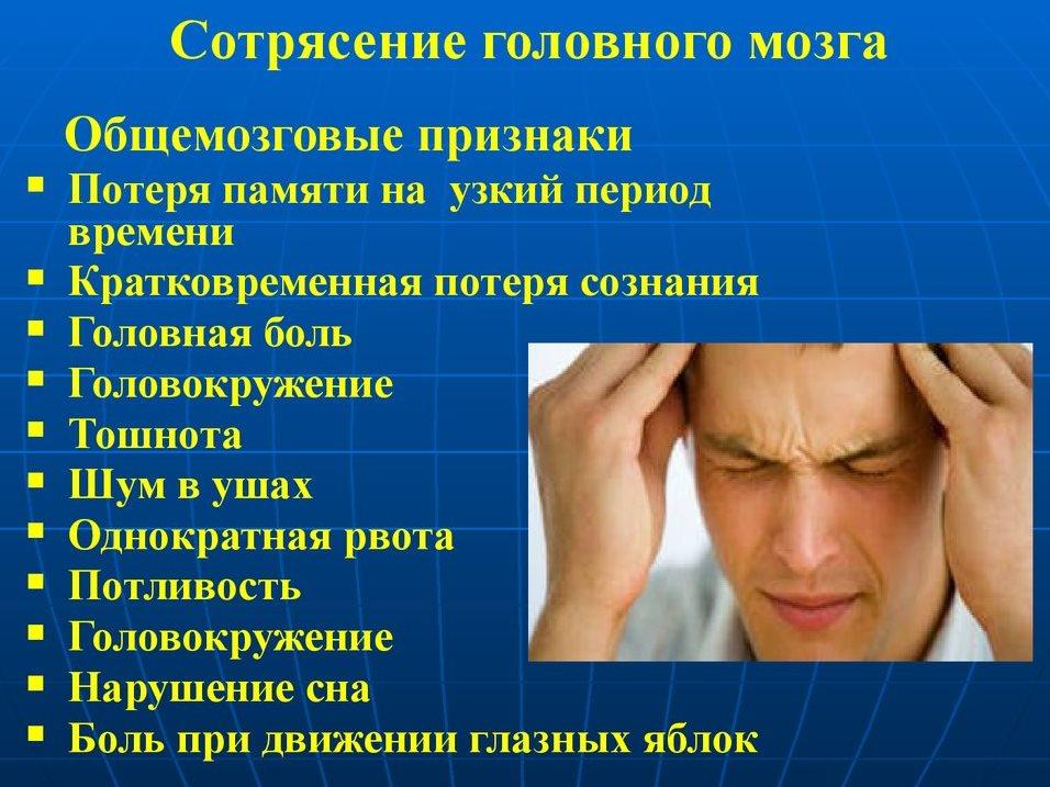 Объективные данные сотрясения головного мозга